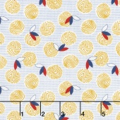 Chicken Scratch - Yolks and Feathers Tan/Blue Yardage
