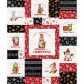 Gnome for Christmas - Gnome Red Black Flannel Panel