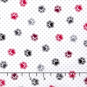 Scotty Love - Love Those Paws White Flannel Yardage