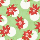 Swell Christmas - Poinsettia Polka Dot Green Yardage