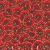 Gilded Blooms - Poppies Poppy Metallic Yardage