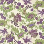 Aubergine - Elegant Paisley Ivory Yardage