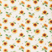 Sundance Meadow - Tossed Sunflowers Cream Yardage