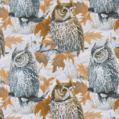 Nightfall - Owls Gray Digitally Printed Yardage