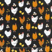 Farm Life - Hens & Eggs Black Yardage