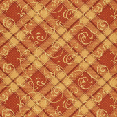 Autumn Time - Plaid Scroll Pumpkin Yardage