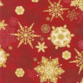 Holiday Flourish 11 - Holiday Snowflakes Red Metallic Yardage