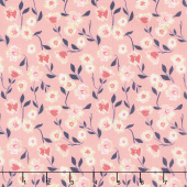 Midnight Rose - Floral Pink with Gold Sparkle Yardage