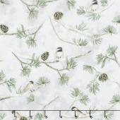 Winter White: Solstice - Winter Birds Metallic Yardage