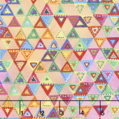 Loca Linda - Triangles Orange Pink Yardage