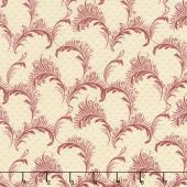 Bricolage - Plumes Ivory Red Yardage