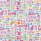 Kitty Glitter - Glitter Words Cream Digitally Printed Yardage