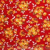 Bread 'N Butter - Dotted Daisy Red Yardage