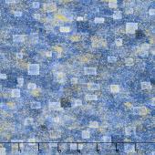Gustav Klimt - Squares Blue Metallic Yardage