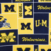 Fleece College - Michigan Wolverines Blue Yardage