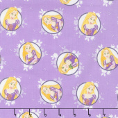 Disney Forever Princess - Rapunzel in Circles in Purple Yardage
