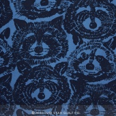 Nicole's Prints - Rocky Raccoon Blue Yardage