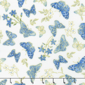 Blue Symphony - Butterfly Cream Metallic Yardage