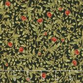 Gilded Blooms - Flowers Poppy Metallic Yardage