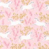 Magic - Unicorn Forest Blossom Minky  Yardage