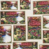 Thomas Kinkade - Garden Prayer Allover Patch Multi Digitally Printed Yardage