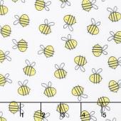 Little Sunshine - Bees Allover White Yardage