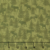 Another Moose Is Loose - Moose Twill Crossing Green Yardage