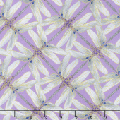 Dragonfly Dance - Purple Pinwheel Geometric Lavender Gray Metallic Yardage