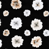 Essence of Pearl - Neutral Floating Blossoms Black Yardage