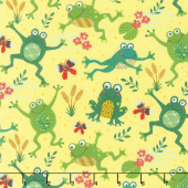 Animals - Playful Frogs Yellow Yardage