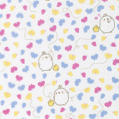 Molang - Butterflies White Yardage
