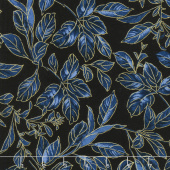 Blue Symphony - Botanical Leaves Royal Gold Metallic Yardage
