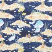 Water Wishes - Scenic Navy Yardage
