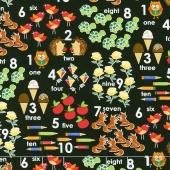 School Rules - Counting Design Black Yardage