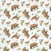 Lakeside Lodge - Animal Toss Pale Gray Multi Flannel Yardage