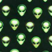 Area 51 - Alien Heads Onyx Yardage