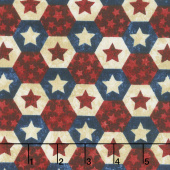 Stonehenge Stars and Stripes VII - Little Star Hexies Navy Multi Yardage