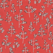 Winter Shimmer 2 - Berries Branches Crimson Pearlized Yardage