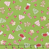 We Whisk You A Merry Christmas - Christmas Cookies Green Yardage