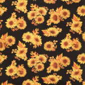 Autumn Elegance - Sunflower Black Metallic Yardage