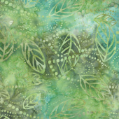 Ivy League Batiks - Floating Leaves Green/Brown Yardage