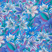 Kaffe Fassett Collective - August 2020 Amaryllis Blue Yardage
