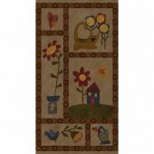 Folk Art Flannels - Print Tobacco Panel
