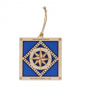 Quilt Ornament - Dark Blue Mariner's Compass