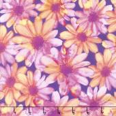 Color Calypso - Berry Color Kissed Flowers Purple Peach Yardage
