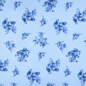 Silver Jubilee - Spaced Floral Blue Yardage