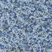 Holiday Flourish 13 - Blue Scrolls Navy Metallic Yardage