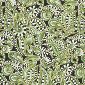 Cat-I-Tude Christmas - Paisley Swirl Green Metallic Yardage