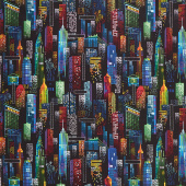 Novelty - New York City Lights Black Yardage