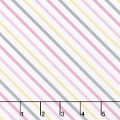 One Sheep, Two Sheep - Diagonal Stripe White Yardage